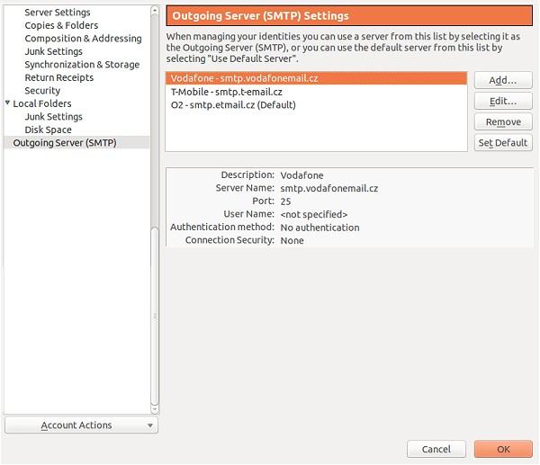 Nastavení odesílání pošty přes SMTP pro mobilní internet O2, Vodafone, T-Mobile